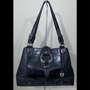 BRIGHTON Black Leather Large Shoulder Bag Purse